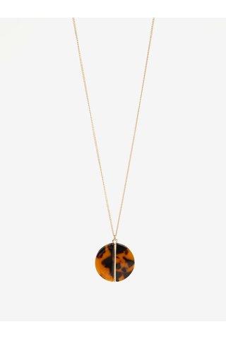 Colier auriu cu pandantiv maro - Pieces Valora