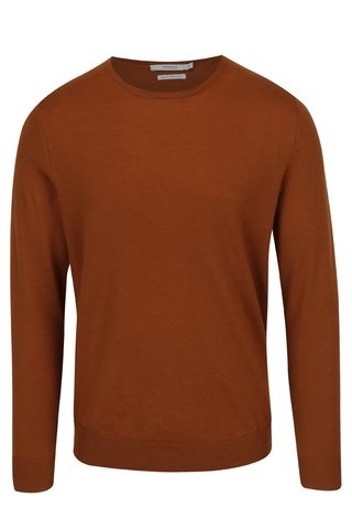 Pulover maro din lana Merino Jack & Jones Premium Mark