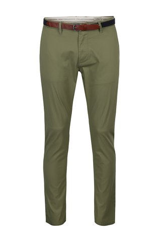 Pantaloni chino slim fit kaki cu curea maro - Selected Homme Hyard