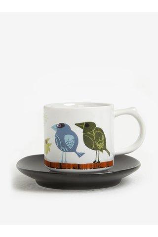 Bílý hrnek na espresso s potiskem a podšálkem Magpie Family of Birds Espresso Cup & Saucer Family