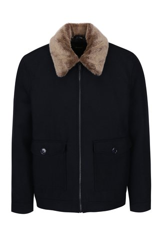 Geaca bleumarin cu guler de blana  Burton Menswear London