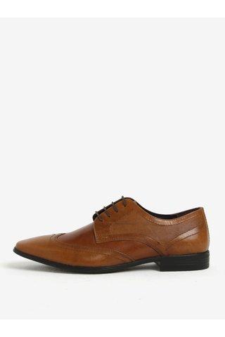 Pantofi maro din piele cu model Burton Menswear London