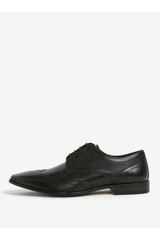 Pantofi negri din piele cu model Burton Menswear London