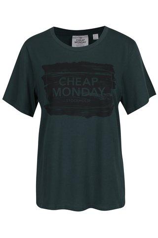 Tmavě zelené dámské tričko s potiskem Cheap Monday