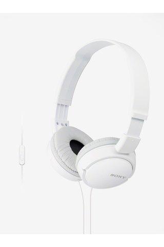 Bílá skládací sluchátka s mikrofonem Sony