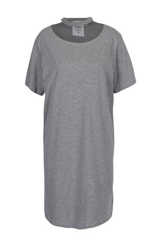 Šedé šaty s krátkým rukávem a chokerem Cheap Monday