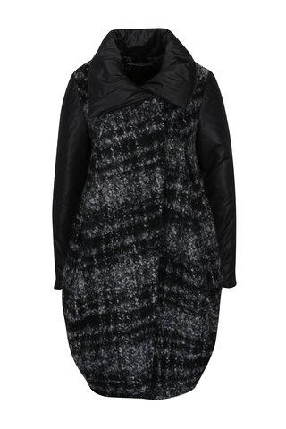 Černo-šedý žíhaný balónový vlněný kabát Alexandra Ghiorghie Mery