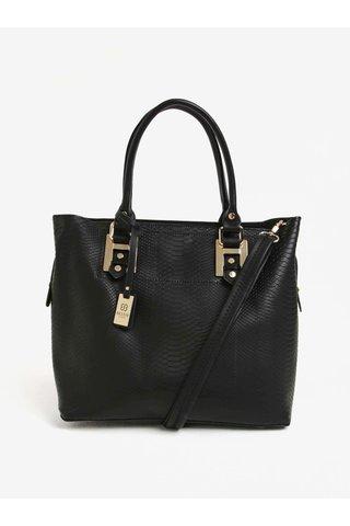 Geanta shopper/crossbody neagra cu aspect piele de sarpe  Bessie London