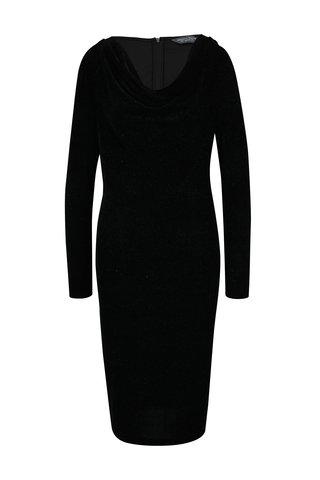 Rochie neagra cu guler drapat si aspect stralucitor  Dorothy Perkins Tall