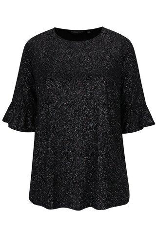 Bluza neagra cu aspect stralucitor si maneci 3/4 cu volane  Dorothy Perkins Curve