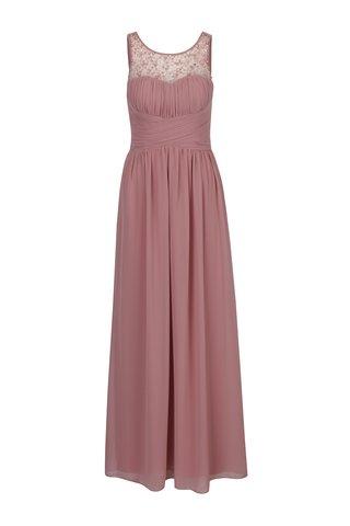 Rochie lunga roz prafuit cu pliseuri si margele decorative discrete - Little Mistress