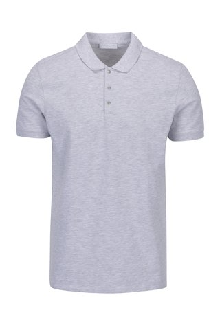 Tricou polo gri melanj Selected Homme Damon