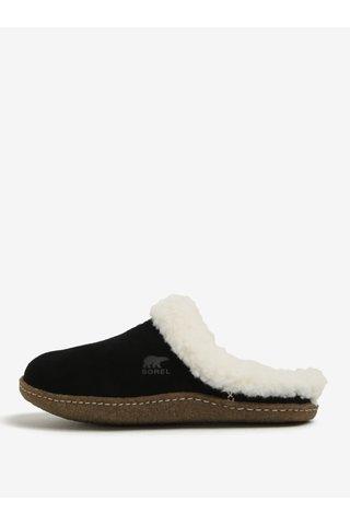 Papuci din piele intoarsa negru & crem cu blana artificiala pentru femei - SOREL