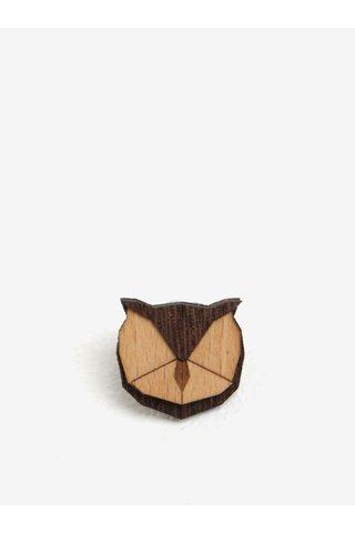 Brosa din lemn in forma de bufnita - BeWooden Owl Brooch
