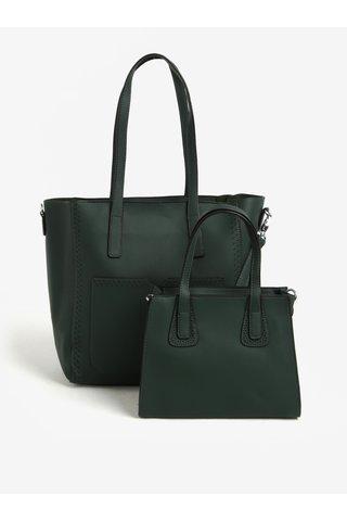 Geanta shopper verde cu aspect 2in1 cu perforatii Bessie London