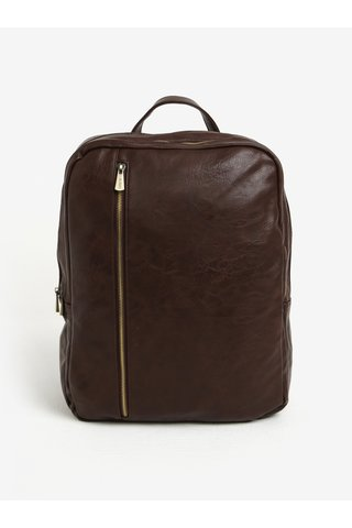 Tmavě hnědý batoh se zipy ve zlaté barvě Bobby Black