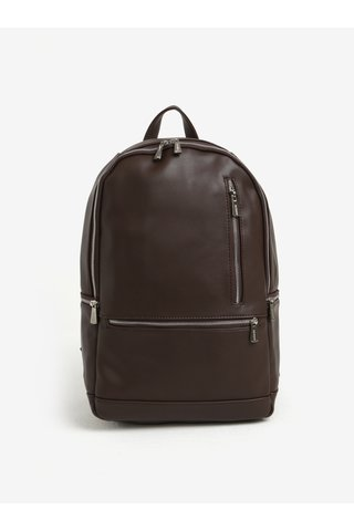 Tmavě hnědý batoh se zipy ve stříbrné barvě Bobby Black