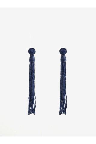 Cercei lungi bleumarin cu margele Pieces Veronica