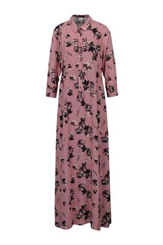 Rochie camasa maxi cu print floral si dungi VILA Valene