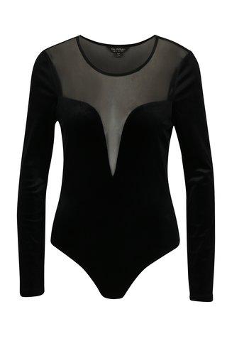 Body negru din catifea cu insertie de tull - Miss Selfridge