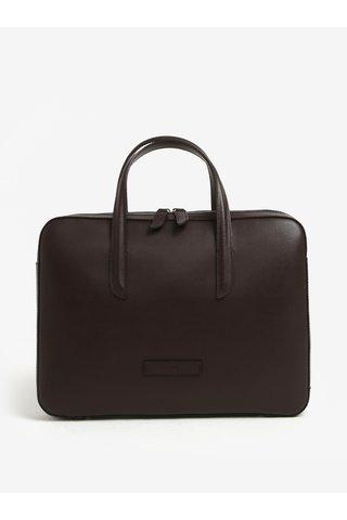 Tmavě hnědá dámská kožená taška na notebook ELEGA Lester