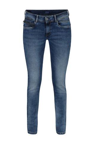 Blugi slim fit albastri cu talie joasa pentru femei - Pepe Jeans New Brooke