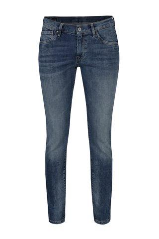 Blugi slim fit albastri cu talie clasica si aspect prespalat - Pepe Jeans Victoria