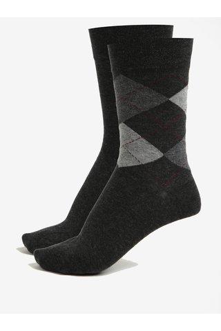 Sada dvou párů pánských ponožek v tmavě šedé barvě JELL
