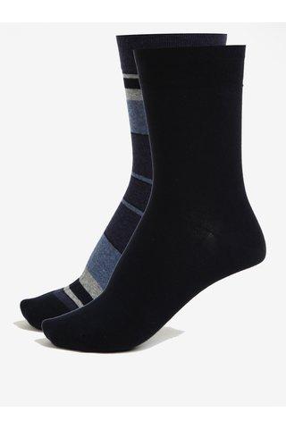 Sada dvou párů pánských pruhovaných ponožek v tmavě modré barvě JELL