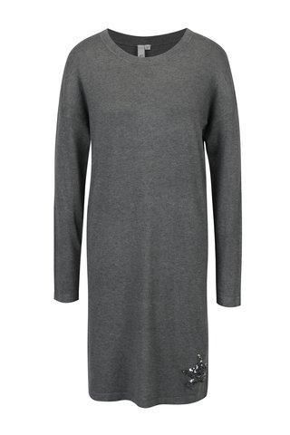 Rochie pulover gri cu aplicatie din paiete in forma de stea QS by s.Oliver