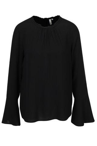 Bluza neagra cu volan la guler si maneci clopot QS by s.Oliver
