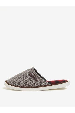 Papuci de casa unisex maro&crem cu model chevron Oldcom Luxhome
