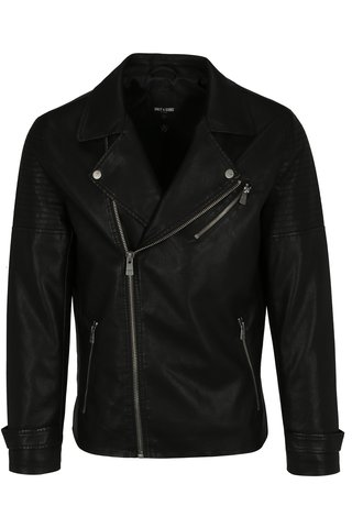 Jacheta biker neagra cu model in relief pe umeri ONLY & SONS Karter