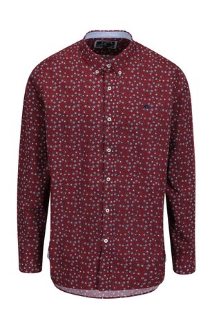 Camasa buttons-down bordo cu print floral Raging Bull