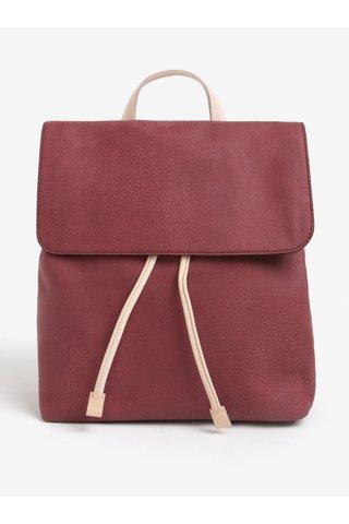Vínový dámský kožený batoh ELEGA Glitter
