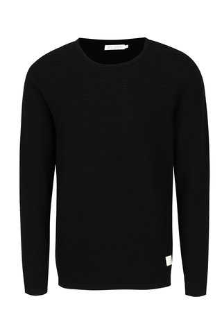 Pulover negru cu dungi in relief - Jack & Jones Tono