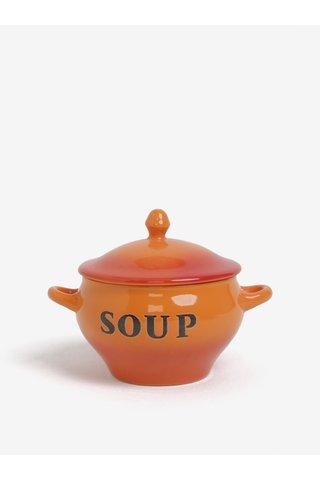 Castron caramiziu de supa cu capac si lingura - CGB