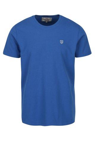Tricou basic albastru cu logo brodat pentru barbati Jimmy Sanders