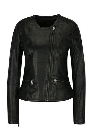 Jacheta neagra din piele cu fermoar asimetric pentru femei - Jimmy Sanders
