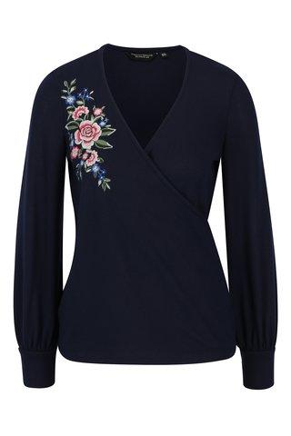 Bluza bleumarin cu maneci balon si broderie florala Dorothy Perkins