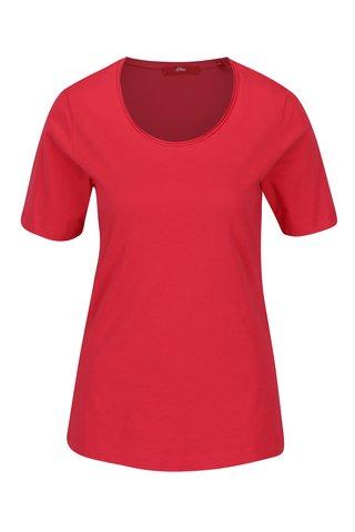 Tricou roz inchis din bumbac pentru femei -  s.Oliver