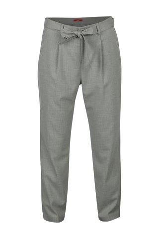 Pantaloni gri deschis cu talie inalta si cordon -s.Oliver
