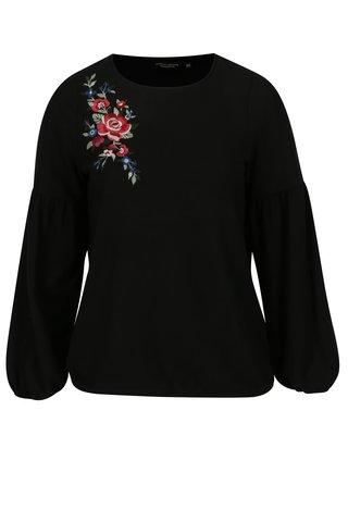 Pulover subtire negru cu broderie florala - Dorothy Perkins Curve