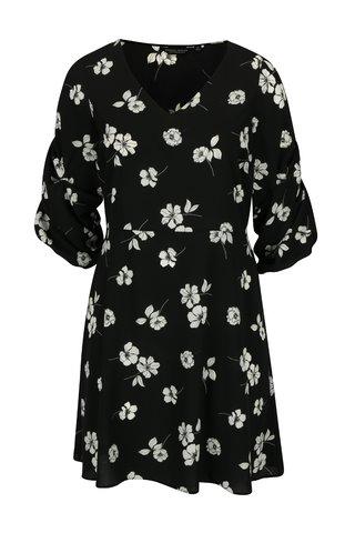 Rochie neagra cu print floral si maneci 3/4 - Dorothy Perkins Curve