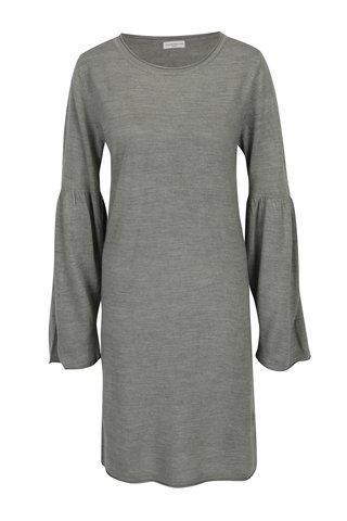 Rochie-pulover gri cu maneci cu pliuri Jacqueline de Yong Stardust