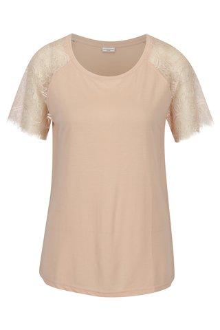 Bluza roz pal cu maneci scurte din dantela Jacqueline de Yong Minni