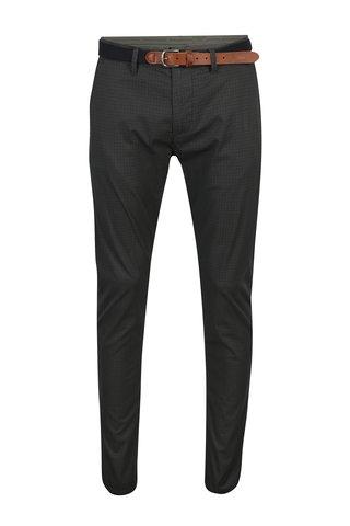 Pantaloni gri inchis cu print si curea - Selected Homme Yard