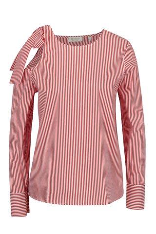 Bluza rosu & alb cu  print in dungi si decupaj pe un umar - Rich & Royal