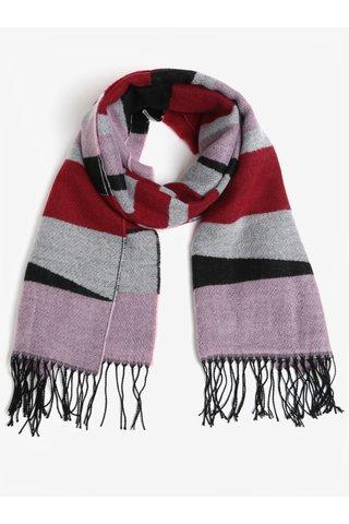 Fular rosu&negru cu franjuri Pieces Muse
