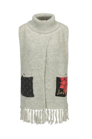 Vesta gri tricotata cu guler - Desigual